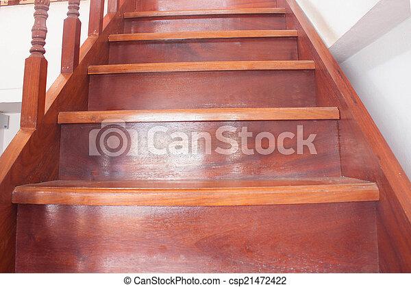 maison bois, étapes, escalier, thaïlande - csp21472422