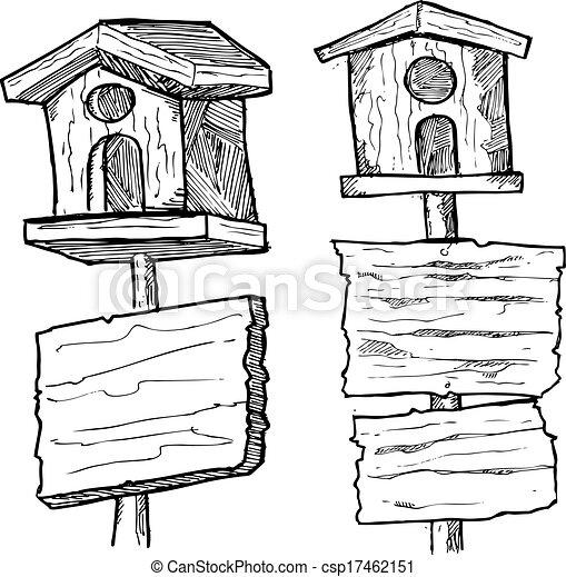 Maison Bois, Grunge, Oiseau, Planche Clipart Vectoriel - Rechercher