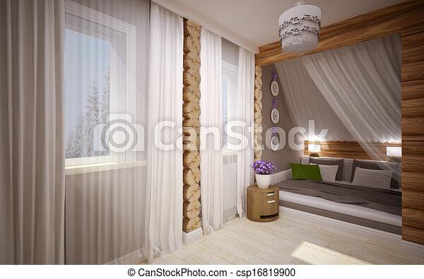 maison bois, intérieur