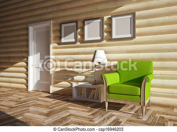 Maison bois, intérieur. Intérieur, bois, moderne, maison.