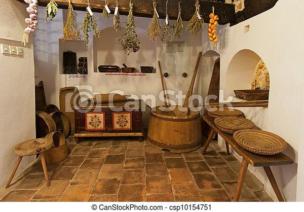 Maison bois, intérieur, vieux. Bois, house., intérieur, vieux, vue.