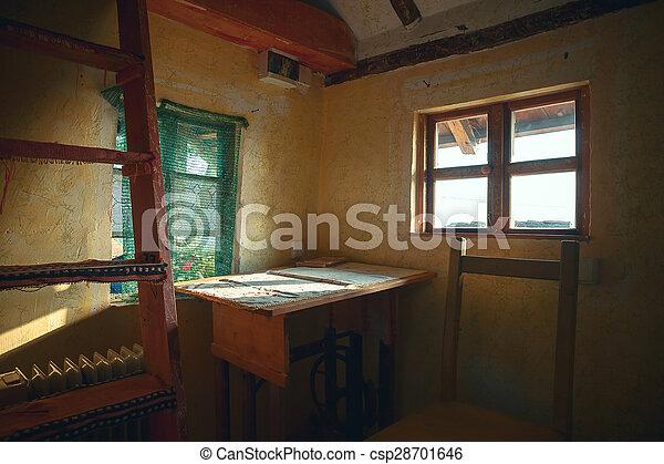 maison bois, intérieur, vieux