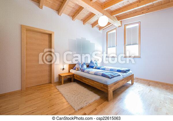 maison bois, moderne, chaud, chambre à coucher, nouveau, bois construction
