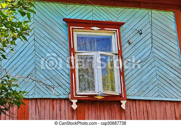 Fenetre Rustique maison bois, rustique, mur, fenêtre, fermé, rural, volets. vieux