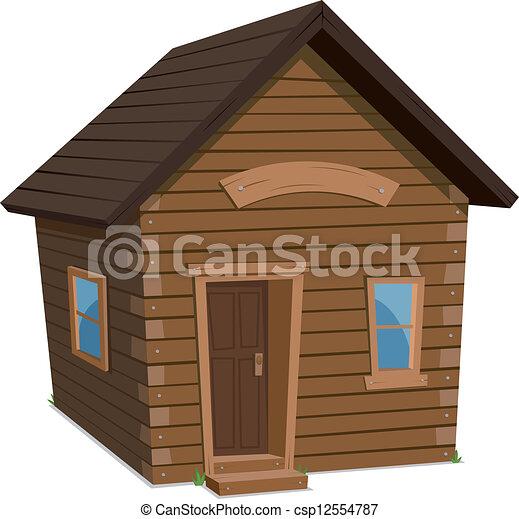 Maison bois style de vie peu maison hiver simple - Dessin cabane ...