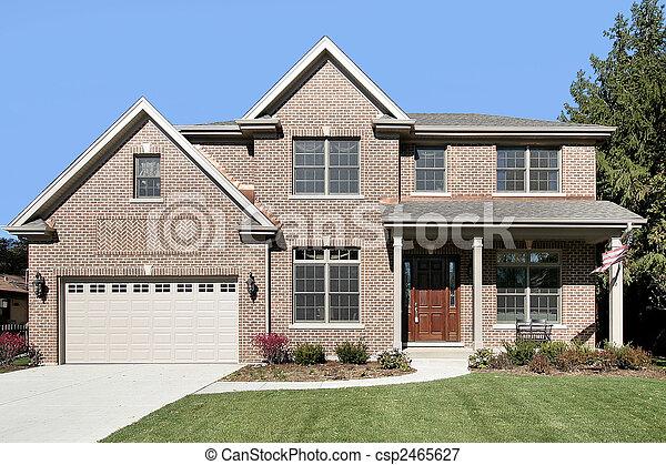 Americain Maison maison, brique, banlieues. banlieues, drapeau, brique, américain