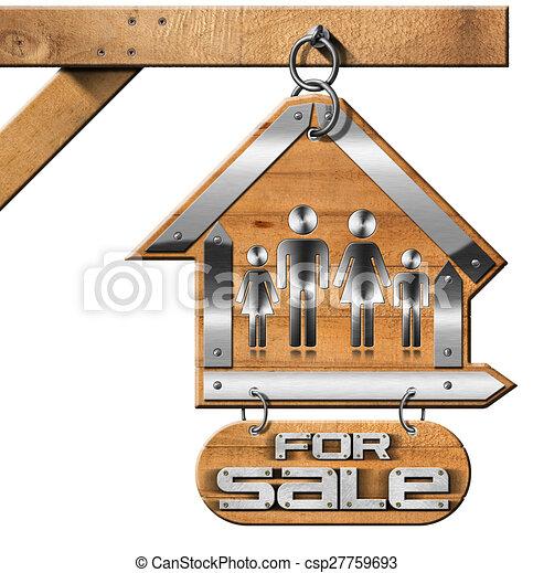 maison, chaîne, vente, famille, signe - csp27759693
