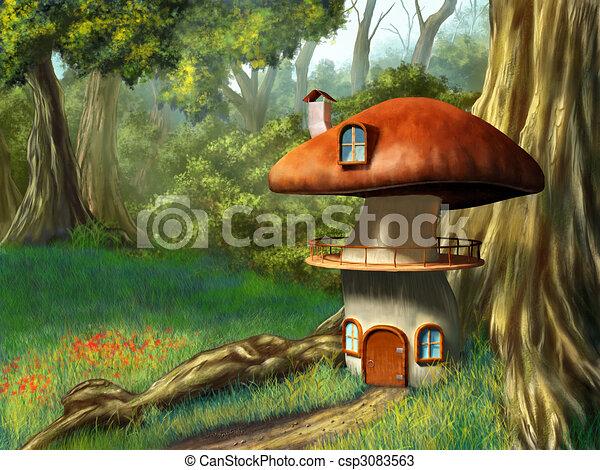 maison, champignon - csp3083563