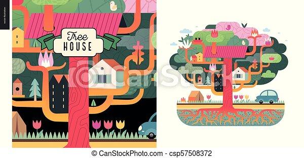 maison, concept, arbre - csp57508372