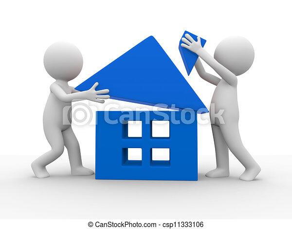 Maison construire maison dessin anim deux caract res for Construire des plans de maison en ligne