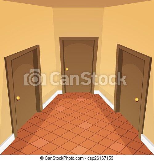 Maison, couloir. Maison, hallway., dessin animé,... clipart ...