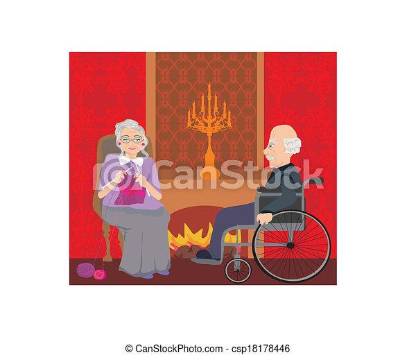 maison, couples aînés, reposer - csp18178446