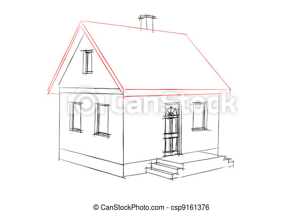 Maison, Croquis. Simple, Maison, Engendré, Informatique