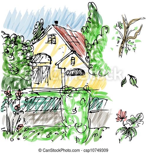 Maison Croquis Jardin Maison Image Jardin Sketch Clipart