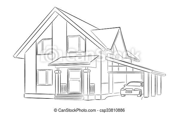 Maison, croquis, privé. Croquis, auvent, maison, deux,... vecteur ...