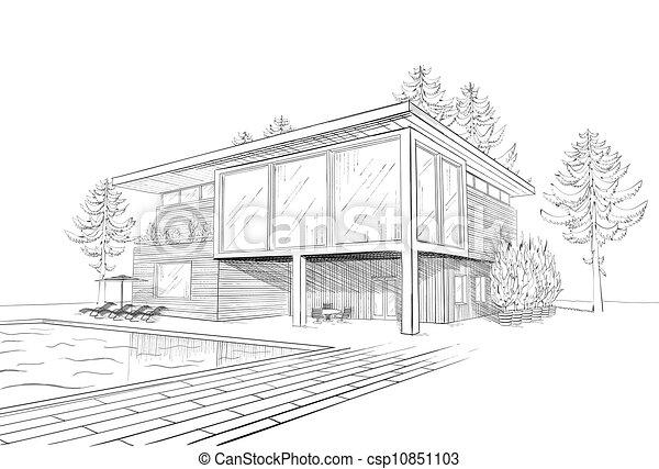 Maison, croquis, vecteur, moderne. Croquis, maison bois ...
