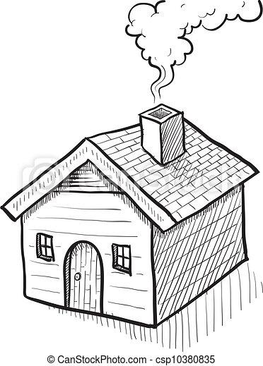Maison Croquis Style Maison Griffonnage Illustration Vecteur