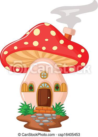 maison, dessin animé, champignon - csp16405453