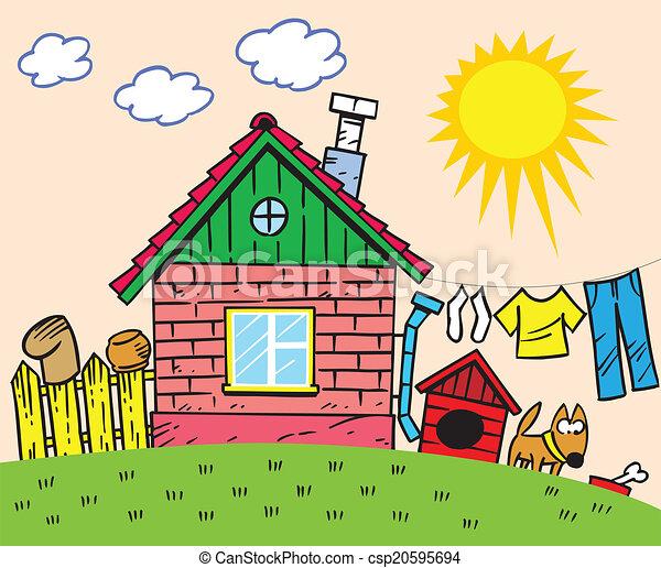 Maison, dessin animé. Dog., yard, barrière, maison, illustration, dessin animé, rustique, fait, petit, style., spectacles. | CanStock