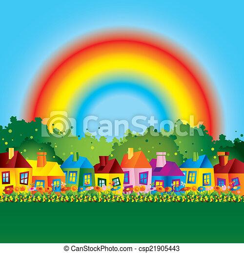 maison, dessin animé, famille, arc-en-ciel - csp21905443