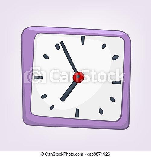 maison, dessin animé, horloge - csp8871926