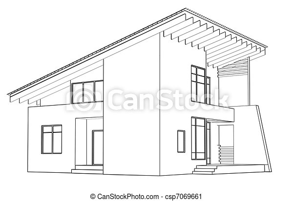Awesome Maison, Dessin, Architectural, Perspective   Csp7069661