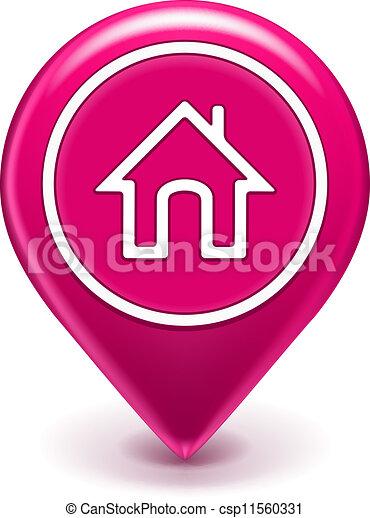 maison, emplacement, icône - csp11560331
