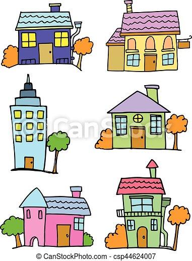 Maison ensemble dessin anim color ensemble color - Dessin colore ...