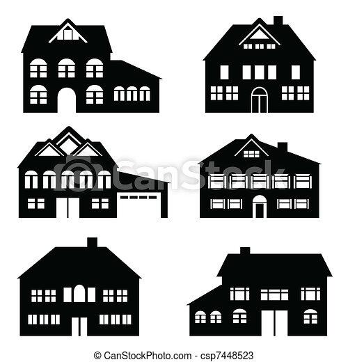 maison, ensemble, icône - csp7448523