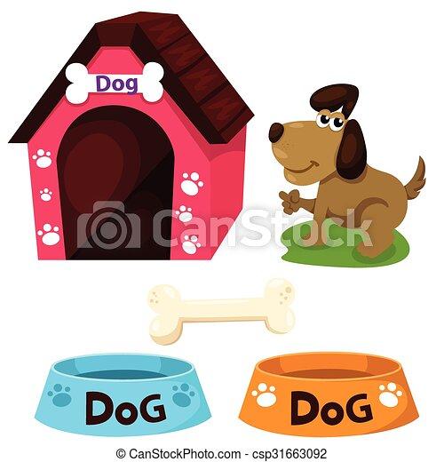 maison, ensemble, illustrateur, chien - csp31663092