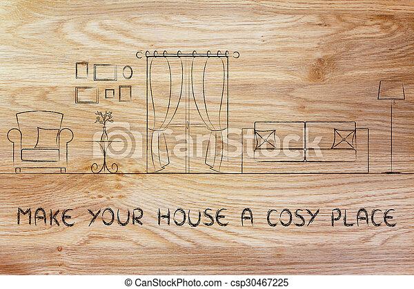maison, faire, endroit, ton, confortable - csp30467225