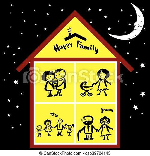 maison famille heureuse nuit famille maison main vecteur eps rechercher des clip art. Black Bedroom Furniture Sets. Home Design Ideas