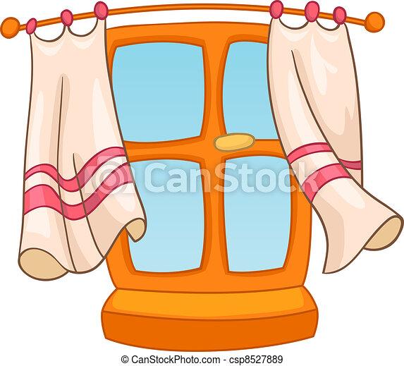maison, fenêtre, dessin animé - csp8527889