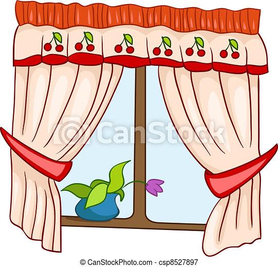 maison, fenêtre, dessin animé - csp8527897