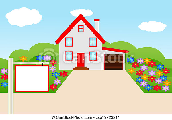 Maison Fleurir Jardin Beau Jardin Maison Illustration Vecteur