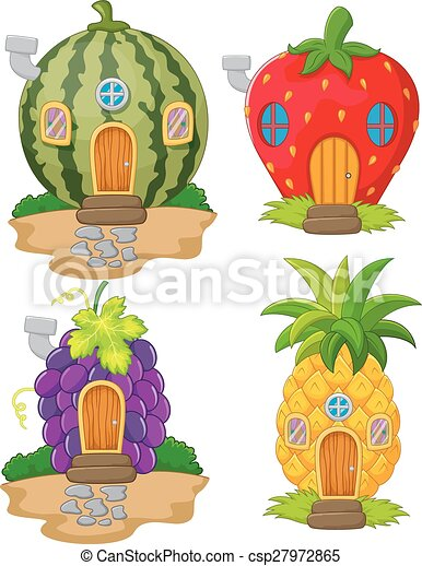 Fruit Dessin maison, fruit, dessin animé, variété. variété, fruit, vecteur