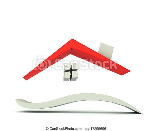 Maison, Graphique, Rouges, Toit, Logo. D, Maison, Toit, 3