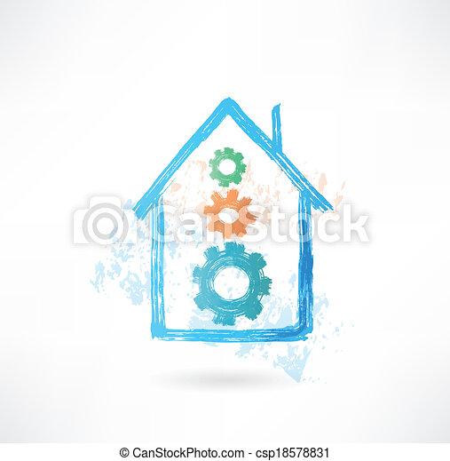 maison, grunge, mécanisme, icône - csp18578831