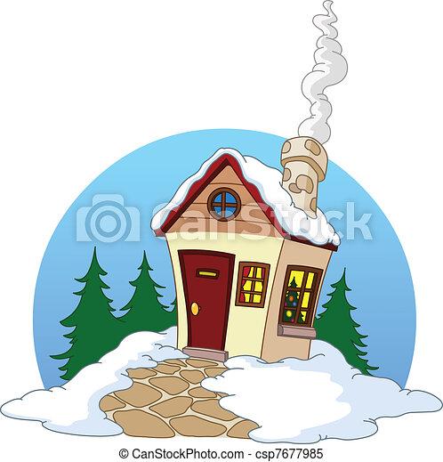maison, hiver - csp7677985