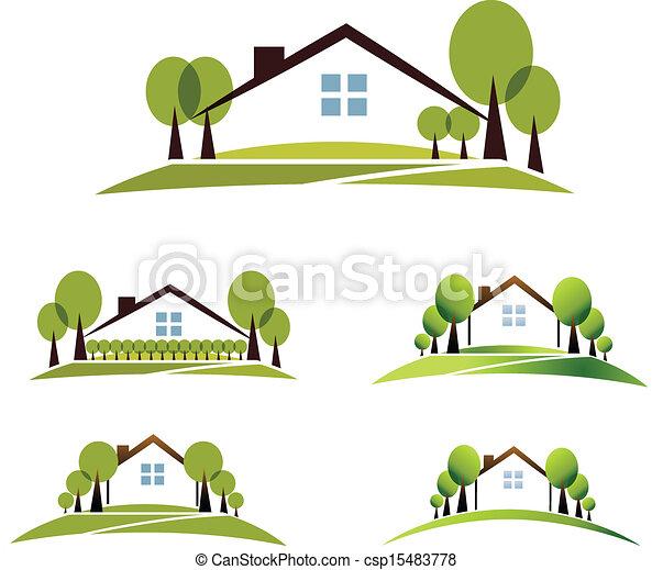Vecteurs illustration de maison, jardin - beau, jardin, maison ...