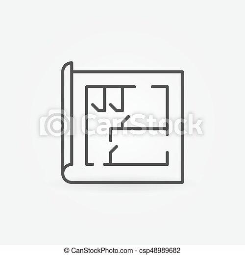 Maison, Ligne, Plan, Icône. Concept, Linéaire, Maison,  Vecteur