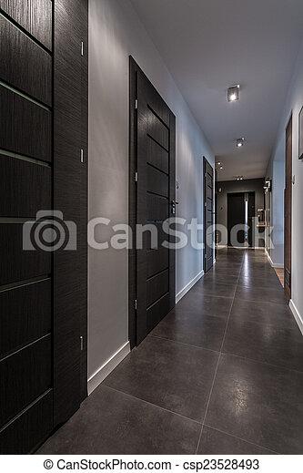 Maison, long, luxe, couloir. Gris, couloir, luxe, long, maison.