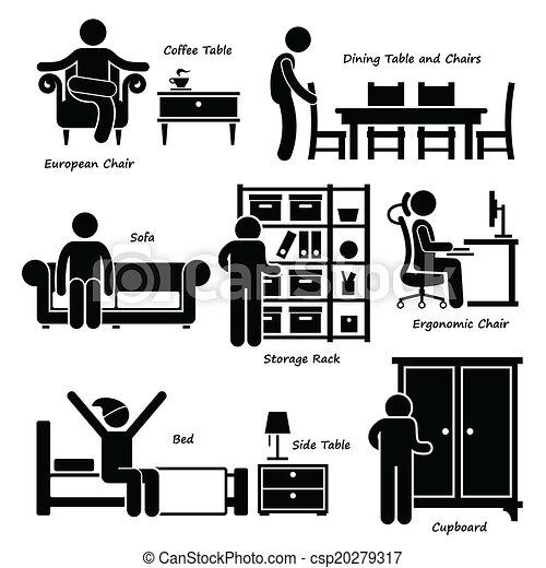 maison, maison, meubles, icônes - csp20279317