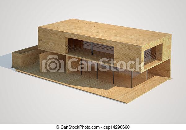 Maison Mock Up Moderne Maquette Maison Sommet Moderne Wood Fait Architectural Vue Canstock