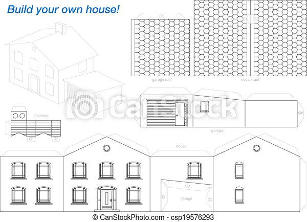 Maison Modèle Papier Contour