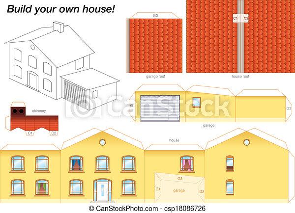 Maison mod le papier jaune lourd les coupure - Maison en papier a imprimer ...