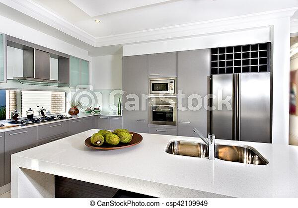 maison, moderne, cuisine, luxueux