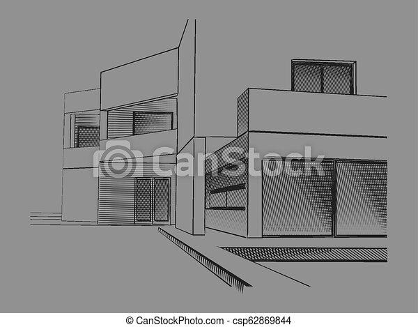 Maison Moderne Dessin Croquis Maison Moderne Illustration Stylise Vecteur Canstock