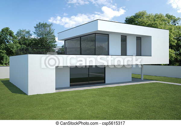 Maison, moderne, extérieur. Maison, pelouse, moderne ...