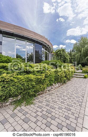 maison, moderne, jardin, extérieur